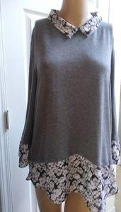 Elle Sz XL Grey & Floral Long Bell Sleeve High-Low